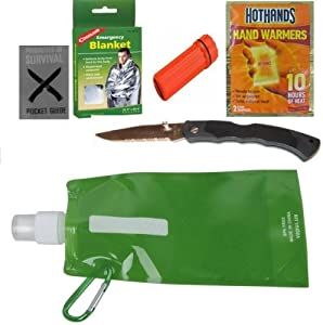 7 Pack Outdoor Kit- (1) Space Blanket, (1) Knife (1) Match Holder, (2) Hand Warmers, (1) Water Bottle -Foldable and Attachable, (1) Pocket Survival Guide, Emergency Survival Kit Is Great Fathers Day Gifts, Graduation Gifts, Gift for Men and for Hiking Gear
