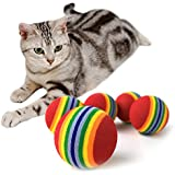 Alcoa Prime 10pcs Pets Dogs Squeaky EVA Chew Toys Tennis Ball Bite Resistant Training Cat Toys 3. 5cm*3. 5cm