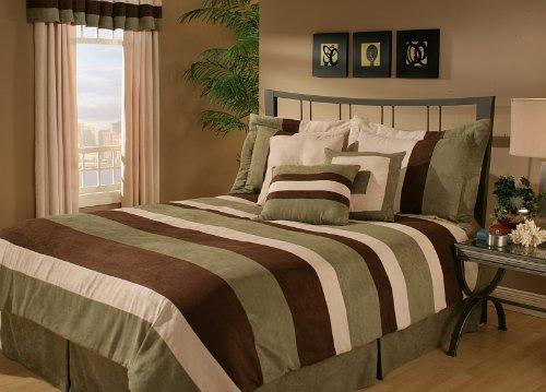 5Pcs Twin Sage Aveune Micro Suede Comforter Set