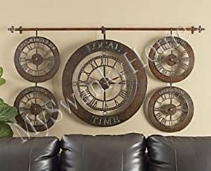large wall world time zones clock hand forged