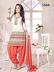 JJR Store Designer White Cotton Embroidered Dress material