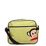 Paul Frank Monkey Face Holdall Messenger Shoulder Vintage Despatch Bag Back To School College Mini Spot Dots Lime Green Yellow