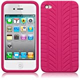 IPHONE 4 / IPHONE 4G TYRE TREAD SILICONE SKIN CASE - HOT PINK PART OF THE QUBITS ACCESSORIES RANGE
