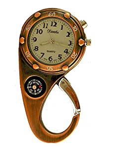 Clip on Watch Bag Pocket Watch W/compass & Back Light Copper Color