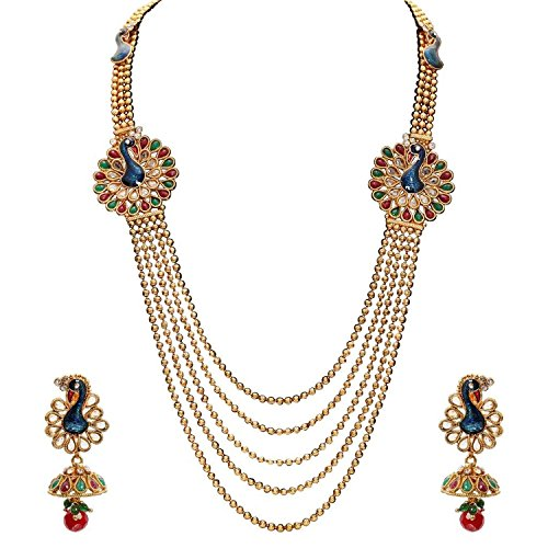 YouBella gold-plated Multistrand necklace with drop earring for Women