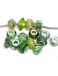 Ten (10) Pack Of Assorted Green Glass Lampwork Murano Glass Beads For European Style Bracelets. Fits Pandora Biagi...