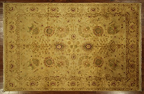 New Tea Wash Beige Oushak Hand Knotted Wool 6'X9' Turkish Floral Area Rug H5780