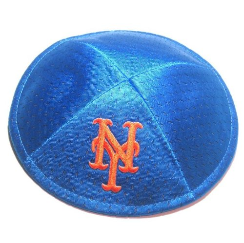 Blue Mesh and Cotton Kippah with New York Mets Logo at Amazon.com