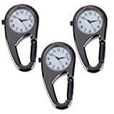 Set of 3pcs Unisex Metal Clip On / Fob / Pocket Watches With Carabineer For Workout / Outdoor Sports