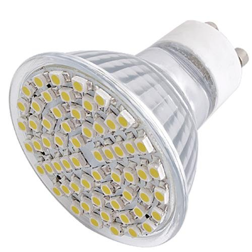 6x Focos 60 LEDs 3528 SMD GU10 230V Blanco C�lido Bajo Consumo Ecol�gico