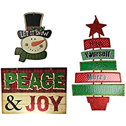 "Christmas Decorations For Your Home - Set of 3 Wooden Christmas Signs - ""Peace & Joy"" - ""Have Yourself A Merry Little Christmas"" Tree & Snowman Signs"
