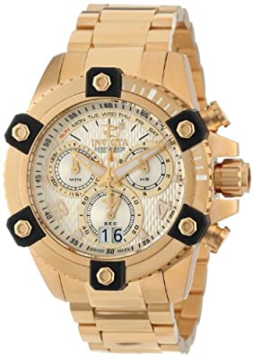 Invicta Men's 13721 Arsenal Chronograph Gold Textured Dial 18k Gold Ion-Plated Stainless Steel Watch