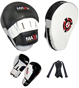 Curved Focus pads, Hook & Jab Pads with 10oz Gloves, Rope back & White from Max Sports Ltd