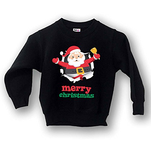 "Felpa Bimbo Bambino Natale ""Lord Christmas Merry Christmas"" NERA 9-11 Anni"