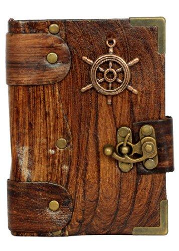 le-navi-a-ruota-pendente-marrone-annata-diario-in-pelle-fatto-a-mano-leather-taccuino-sketchbook-not