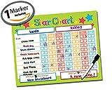 "Reward Chart ● Responsibility Chart ● Chore Chart ● Behavior Chart ● Star Chart ● Dry Erase ● Vinyl Sticker ● Multiple Children ● 2 Child Classroom & Home Teaching Resource ● 16"" x 13"" inch (Lime)"