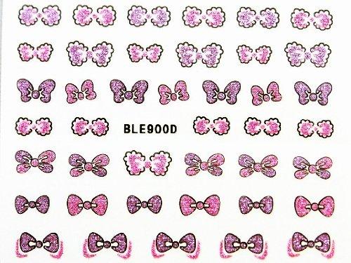 3Dネイルシール ふわふわリボン ピンク&パープル