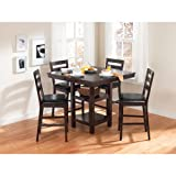 5-Piece square table wooden counter height Dining furniture Set in Espresso