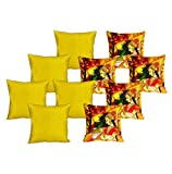 meSleep 5 Pc Rani Digital Cushion Cover and 5 Pc Yellow Quilted Cushion Cover