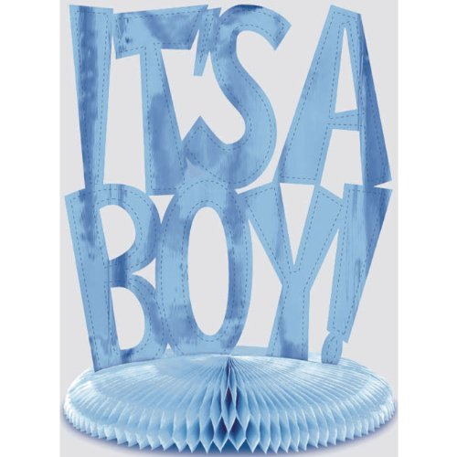 "It's A Boy Foil Honeycomb 10"" Centerpiece"