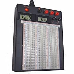 Powered Solderless Breadboard w/ LCD Voltage Displays (PBB-272A)