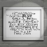 `Noir Paranoiac` Art Print - BLUR - Parklife - Signed & Numbered Limited Edition Typography Wall Art Print - Song Lyrics Mini Poster