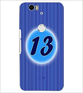 PrintDhaba Numerology Number 13 D-2569 Back Case Cover for HUAWEI NEXUS 6P (Multi-Coloured)