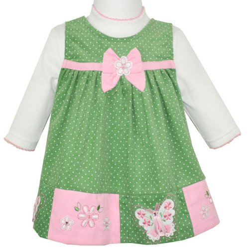 Rare Editions Baby Girls Sage Green Pindot Pinafore Jumper Dress with Applique Butterfly & Flowers Design and Bodysuit 2 Piece Outfit (age 18 months)