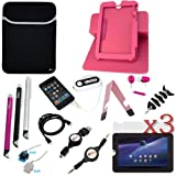 GTMax 16 pieces Essential Accessories Bundle Black Stand Case Kit for Toshiba Thrive 10.1-inch Android Touchscreen Tablet 8GB 16GB 32GB AT105-T108 /AT105-T1016 / AT105-T1032