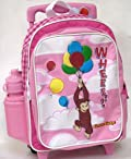 Curious George Rolling Backpack - Full Size Rolling Luggage (Pink)