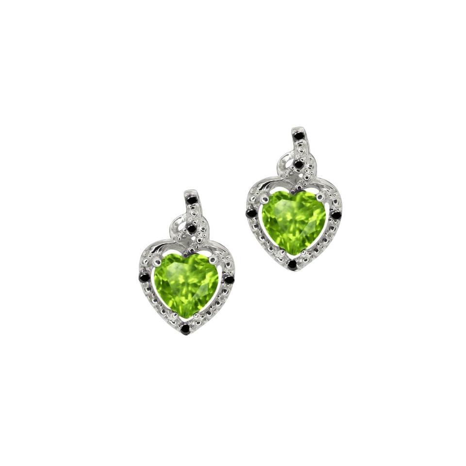 1.73 Ct Heart Shape Green Peridot Black Diamond Sterling Silver Earrings