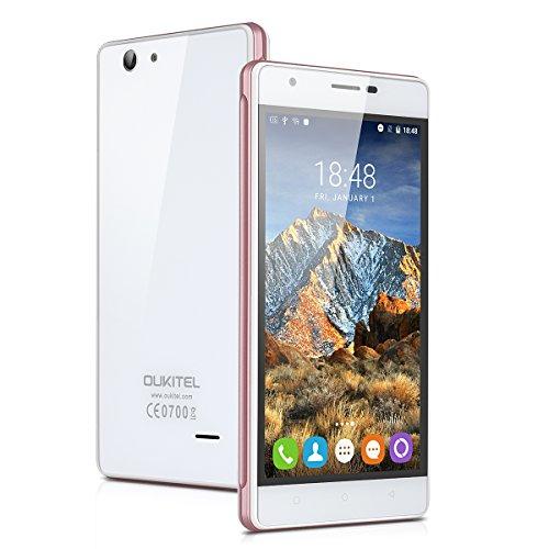 "OUKITEL C4 - 4G Smartphone Libre Multitáctil Android 6.0 (Pantalla IPS 5.0"", 1.3GHz MT6737 Quad Core, 1GB RAM 8GB ROM, 5.0MP Cámara, GPS, WIFI, OTA, Dual SIM) (Blanco)"
