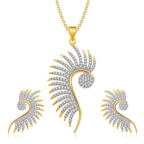 YouBella American Diamond Gold Plated Pendant Set with Chain and Earrings for Women : Best Rakhi Gift Jewellery