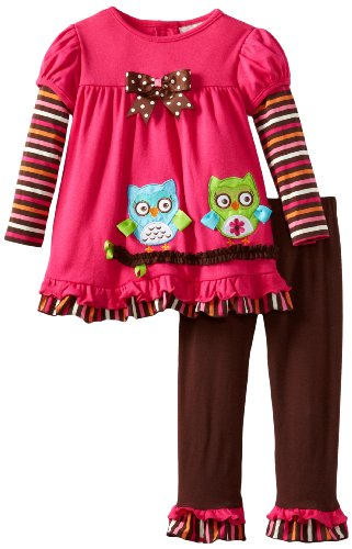 Rare Editions Girls 2-6X Owl Applique Leg Set, Fuchsia/Brown, 2T