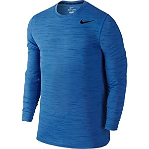 Nike Men's Dri-FIT Touch Blue Long Sleeve Shirt (Game Royal, Large)