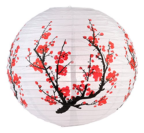 "WeGlow International 14"" Japanese Plum Tree Pattern Paper Lantern (Set of 2)"