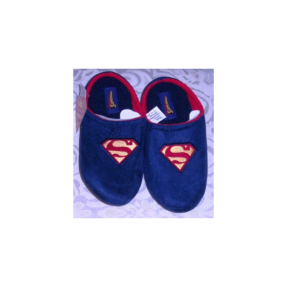 9e91889867 DC Comics SUPERMAN Embroidered Flc Clog Slippers Navy Blue Adult Medium (M)