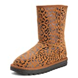 ZLYC Women's Leopard Print Leather Brown Flat Mid Calf Boots