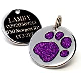 Personalised Engraved 25mm Purple Glitter Paw Print Dog Pet ID Tag Disc.......TO LEAVE ENGRAVING DETAILS PLEASE READ PRODUCT DESCRIPTION LOWER DOWN THIS PAGE.