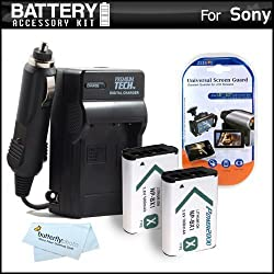 2 Pack Battery And Charger Kit For Sony Cyber-shot DSCRX100 DSC-RX100 DSC-RX100M II DSC-RX1 DSC-HX300 DSC-WX300 DSC-HX50V DSC-HX50V/B HDR-AS10 HDR-AS15 HDR-AS30V HD Action Camcorder Includes 2 Replacement (1600Mah) NP-BX1 Batteries + Charger