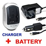 Invero HIGH QUALITY Battery Pack + Mains Charger AC Adaptor with Car Charger for Panasonic Lumix DMC-TZ7 DMC-TZ-7 TZ7 T-Z7 DMCTZ7
