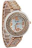 Timiho White Circular Dial With Crystal Studded Gold Belt And Bezel Watch For Women