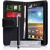 LG Optimus L7 P700 Zubehör Tasche PU Leder Brieftasche Hülle Schwarz Mit Griffel Stift