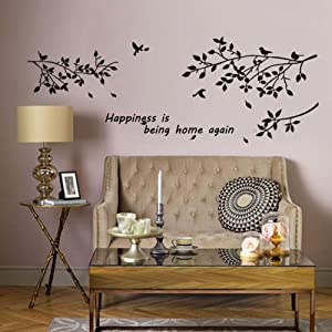 sticker mural diy sticker d coratif d 39 arbre d 39 oiseau mur de vinyle de d cor la maison amazon. Black Bedroom Furniture Sets. Home Design Ideas