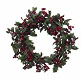 Nearly Natural 4921 Holly Berry Wreath, 24-Inch, Red/Green