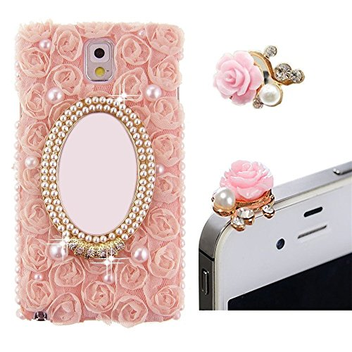 Vandot 2 In1 Accessory Set Pink Protective Case For Smart Phone Samsung Galaxy Note3 Noteiii N9000 3D Bling Rhinestones Skin Cover Pouch Glitter Flower Diamond Flip Case Camellia Diamond 3D Case Crystal Mobile Phone Cover Case + Pink 3.5Mm Anti Dust Plug front-710519