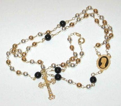 Blessed By Pope Benedict XVIElegant two tones gold filled and onix Rosary Necklace