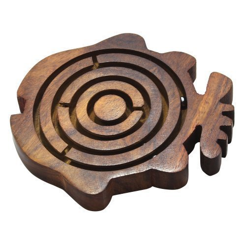 Brain Puzzles Game Labyrinth Maze Fish Shape Wooden Game Size 4.4 X 4.4 Inches