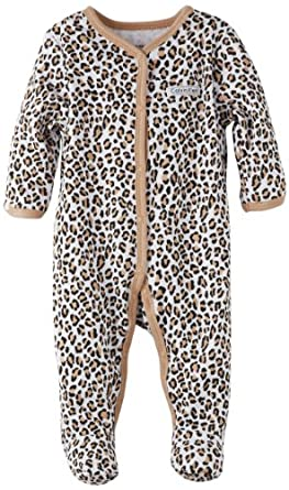 Calvin Klein Baby-girls Newborn Animal Print Stretchie Coverall, Brown, 0-3 Months