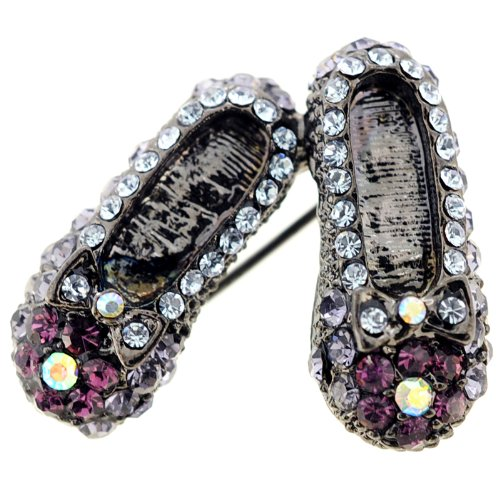 Multicolor Vintage Style Flat Pin Swarovski Crystal Shoes Brooch Pin